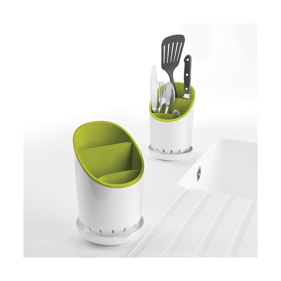 Сушилка для столовых приборов со сливом Dock, зелёная