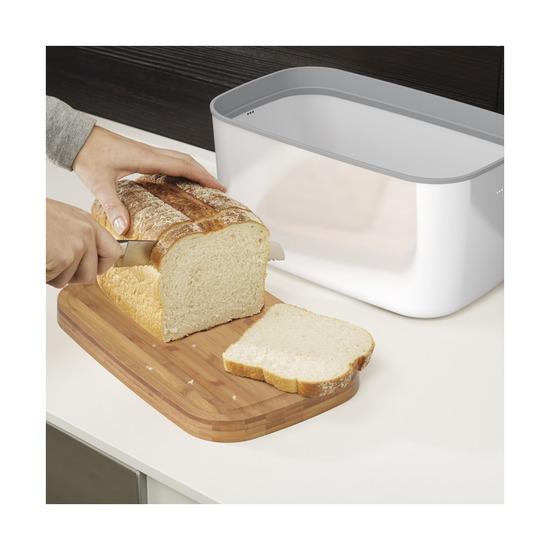 Хлебница металлическая с разделочной доской, белая