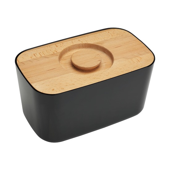 Хлебница металлическая с разделочной доской, черная