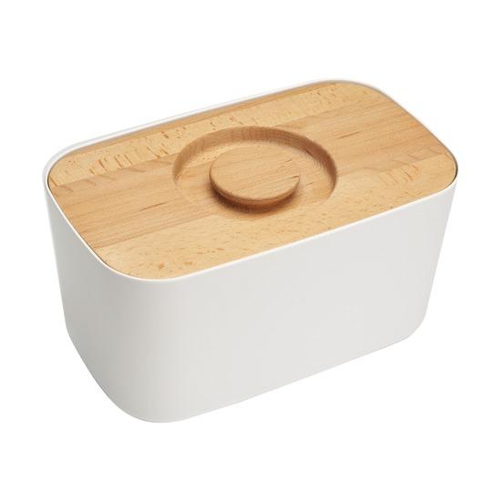 Хлебница с разделочной доской, белая