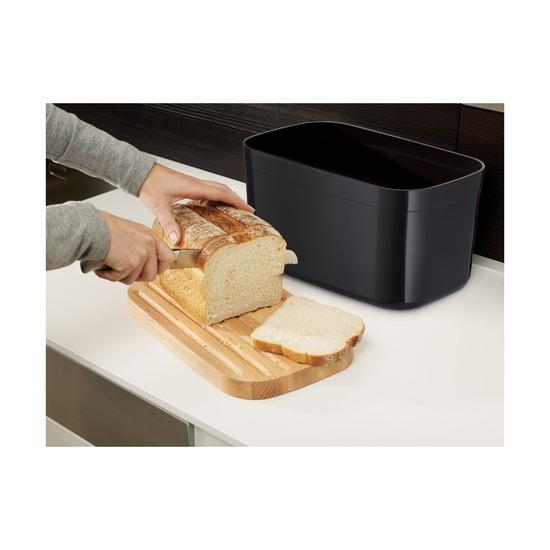 Хлебница с разделочной доской из бамбука, чёрная