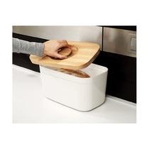 Хлебница пластиковая с разделочной доской из бамбука, белая