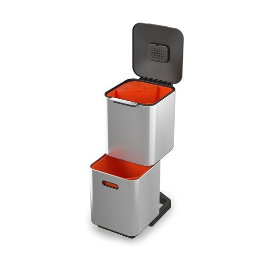 Контейнер для мусора с двумя баками Totem Compact, 40 л, металлик