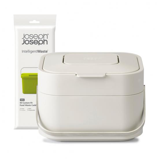 Контейнер для пищевых отходов Stack 4, белый и пакеты для мусора Food Waste, 50 шт.