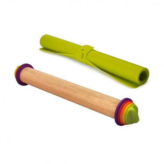 Коврик для теста с разметкой Roll-up и регулируемая скалка